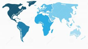 Blank Map Of Europe asia and Africa Multicolored World Map Divided to Six Continents In S