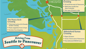 Canada Us Border Crossing Map Seattle to Vancouver Canadian Border Crossing