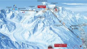 Chamonix France Ski Map La Vallee Blanche 20km Off Piste Route Chamonet Com
