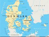 Copenhagen Map Europe Denmark Physical Wall Map Denmark On Map Of World
