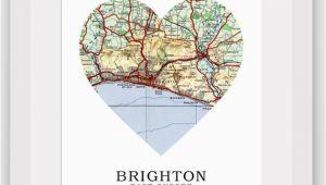 England Map Brighton Brighton Map Heart Print Brighton Map Art Sussex Map Sussex Heart