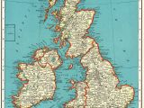 England Map In World 1937 Vintage British isles Map Antique United Kingdom Map
