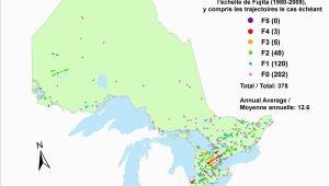 Environment Canada Weather Map Canadian National tornado Database Verified events 1980 2009