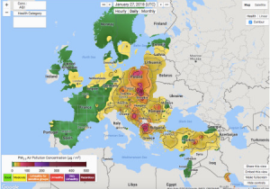 Europe Pollution Map Spain On the Map Of Europe