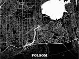 Folsom California Map Black Map Poster Template Of Folsom California Usa Maps Vector