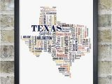 Framed Map Of Texas Texas Map Art Texas Art Print Texas City Map Texas Typography Art