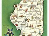 Galena Ohio Map Vintage State Map Postcards Vintage 1970s Illinois State Map