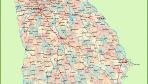 Georgia State Map with Cities and Counties Georgia Road Map with Cities and towns