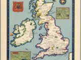 Historic Maps England the Booklovers Map Of the British isles Paine 1927 Map