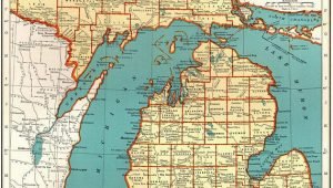 Holly Michigan Map 1921 Vintage Michigan State Map Antique Map Of Michigan Gallery Wall