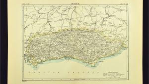 Horsham England Map Antique Sussex Map Of Sussex County England United Kingdom Brighton
