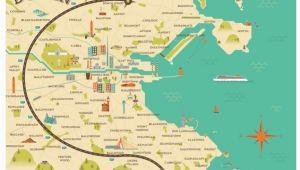 Ireland Dart Map Illustrated Map Of Dublin Ireland Travel Art Europe by Alan byrne