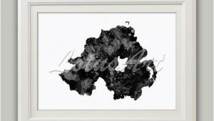 Ireland Map Black and White northern Ireland Map Black White Print Watercolor Map Wall