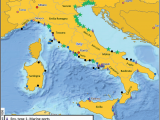 Italy Districts Map Geographical Location Of Sites In Italian Coastal Regions for the