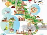 Italy touristic Map Travel Infographic Travel and Trip Infographic Cartoon Map Of