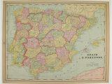 Kingdoms Of Spain Map Vintage Spain Map Portugal Holland Map Belgium Denmark Map