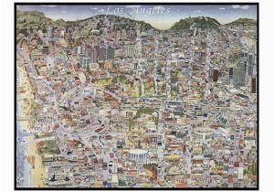 La In California Map Vintage Los Angeles Map Ca Print Hand Drawn L A California Art