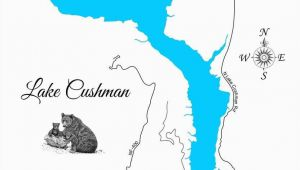 Lakes In Ireland Map Lake Cushman and Lake Standstill Washington Wood Laser Cut Map