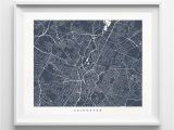 Leicester England Map Leicester England Street Map Horizontal Print Europe