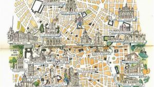 Madrid On Map Of Spain Madrid Map Book Illustration City Map Art by Jacques Liozu