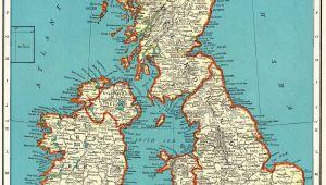 Map Od England 1937 Vintage British isles Map Antique United Kingdom Map