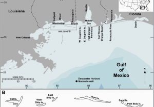 Map Of Alabama and Mississippi Coast Map Of the Study Region A Shows the Location Of the Deepwater
