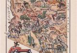 Map Of Arizona tombstone Map Of Arizona From 1946 by French Artist Jacques Liozu Digital