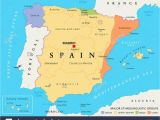 Map Of Balearic islands and Spain Spain Map Stock Photos Spain Map Stock Images Alamy