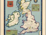 Map Of British isles and Ireland the Booklovers Map Of the British isles Paine 1927 Map Uk