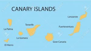 Map Of Canary islands and Spain Yellow Map Of Canary islands