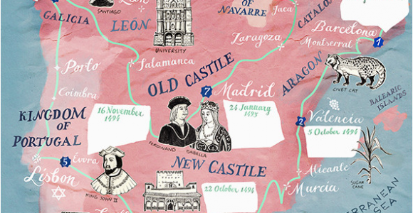 Map Of Castles In Spain Historic Illustrated Map Of Spain and Portugal for Bbc World