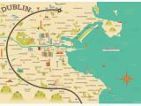 Map Of Cities In Ireland Illustrated Map Of Dublin Ireland Travel Art Europe by