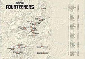 Map Of Colorado 14ers Amazon Com 58 Colorado 14ers Map 18×24 Poster Tan Posters Prints