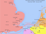 Map Of England and Spain the Queen Of Spain Sails to England January 1690