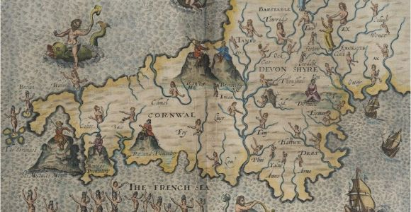 Map Of England In 1600 Hand Drawn Map Of Cornwall and Devonshire From the 1600 S