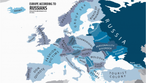 Map Of Europe 2012 Europe According to Russians Interesting Funny Maps Map