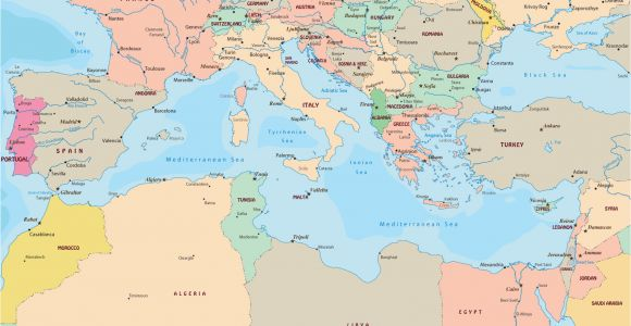 Map Of Europe and Mediterranean Sea Political Map Of Mediterranean Sea Region