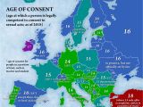 Map Of Europe Showing Slovenia Age Of Consent by Country In Europe