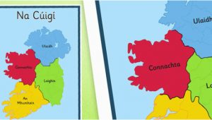 Map Of Ireland as Gaeilge Irish Provinces Display Poster Gaeilge