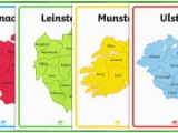 Map Of Ireland with Provinces Irish Provinces Display Poster Gaeilge