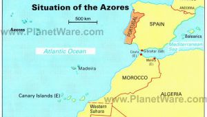 Map Of islands In Europe Azores islands Map Portugal Spain Morocco Western Sahara