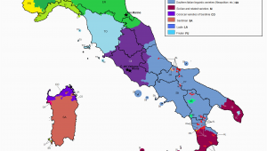 Map Of Italy In English Linguistic Map Of Italy Maps Italy Map Map Of Italy Regions