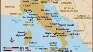 Map Of Italy Showing Pompeii Map Of Italy