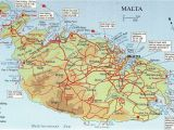 Map Of Malta and Italy Map Over Malta and Comino Big Map with Interesting Places Marked