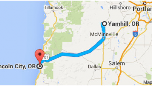 Map Of Mcminnville oregon From Yamhill or to Lincoln City or oregon Wine Country