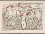 Map Of Michigan and Wisconsin New Rail Road and County Map Of Michigan and Wisconsin David