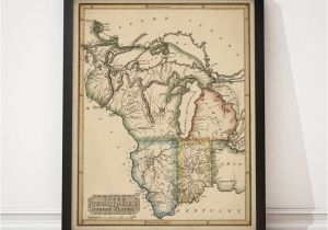Map Of Michigan Wisconsin and Minnesota Indiana Map Illinois Map Michigan Map Wisconsin Map Etsy
