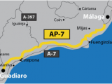 Map Of Mijas Costa Del sol Spain Mediterranean Motorway Malaga A 7 Versus Ap 7