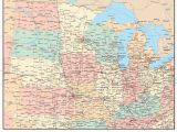 Map Of Minnesota Wisconsin Iowa and Illinois Usa Midwest Region Map with States Highways and Cities Map Resources