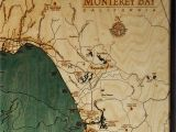 Map Of Monterey Bay California Monterey Bay Wood Map 3d Nautical topographic Chart Framed Art